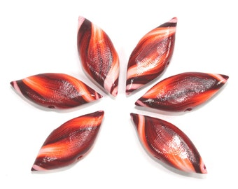 Polymer Clay beads, Stripes leaf shaped Beads, maroon, red, orange and white, unique pattern, Set of 6 Marquise beads
