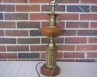 Lamp making/Lamp base/Salvage lamp base/Wood and brass metal lamp base/lamp parts/Rustic metal salvage/vintage lamp parts