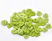 20 Heart Shaped  Resin Plastic Buttons Two Holes Green -  20 Pack PB19