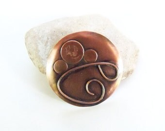 Copper brooch, large free form