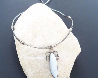 Vintage, Blue Opal, silver, necklace, vintage necklace, opal necklace, silver necklace
