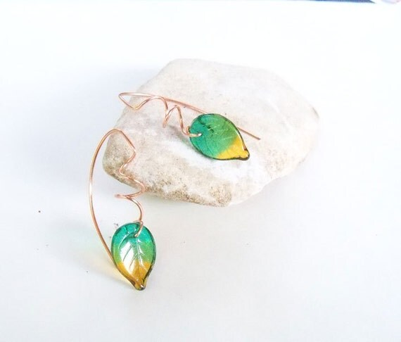 Copper spiraled drop glass leaf earrings