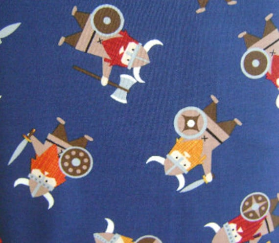 Tossed Vikings in Navy - 1 Yard of Fabric - Fabric - Blue Fabric - Navy Fabric - Boy Nursery - Viking Fabric