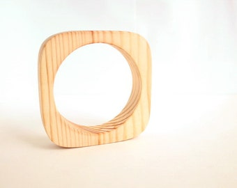 20 mm Wooden bracelet unfinished square - natural eco friendly te20c