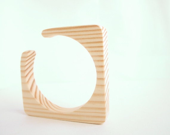 15 mm Wooden bracelet unfinished square with break - natural eco friendly ma15