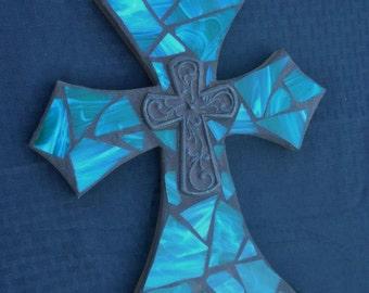 Mosaic Cross, Stained Glass Cross, Wall Hanging, Mosaic Wall Decor, Mosaic Art