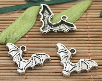 30pcs dark silver tone chiropter charms h3192