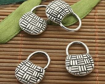 25pcs dark silver tone handbag charm h3442