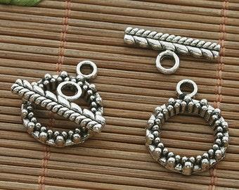 25sets dark silver tone toggle clasp h3521