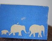 Geboortekaartje olifant - linosnede, linodruk