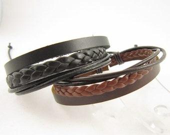 Real Leather Cuff Bracelet Couple Bracelet Adjustable Leather Braid Wax Cord Fashion Accessories Punk