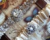 Popular elegant Swarovski crystal wedding garter set - keepsake heirloom bridal garter - rhinestones - ribbon color choices available