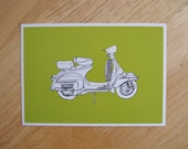 POSTCARD - 6x4.25 inches. Vespa - Lime green