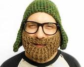 Beard Face Warmer in Light Brown // BEARD ONLY // 7 COLORS // Crochet Knit // Christmas Gag Gift Idea // Stocking stuffer