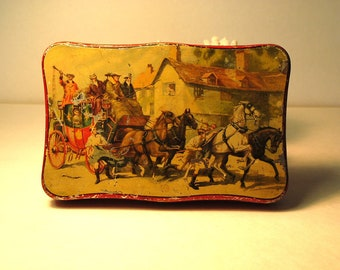 Toffee tin RED scalloped edges HORSES and CARRIAGE Halifax, England Rileys Toffe tin  Antique Vintage marked Made in England