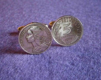 Republique of France 5 Centimes Coin Cufflinks