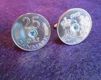 Denmark 25 Ore Silver toned coin cufflink