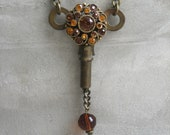 Key Necklace With Vintage Earring Adornment - Orange And Copper Colored Rhineston - Hardware Jewelry - SteamPunk - Piece Lust