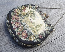Pretty, vintage 1930s French petit point tapestry purse/handbag with gold coloured metal frame and chain handle