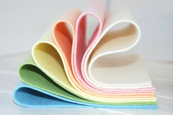 "100% Wool Felt Sheets - ""Pastel Dream Collection""  - 6 Wool Felt Sheets of 8"" x 12"" -  Wool Felt Sheets in Pastel Colors"