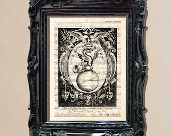 "Dictionary Print: - ""Vintage Dragon Illustration "" - up-cycled vintage book page, Medival Dragon print, Antique Dragon art"