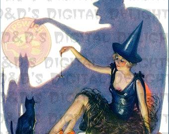 Deco Flapper Witch and Black Cat. VINTAGE Halloween Digital Download.