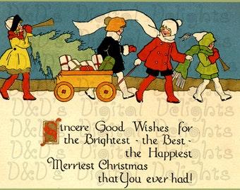 GORGEOUS Group Of Kids On Christmas.  VINTAGE Christmas Illustration. Christmas DIGITAL Download