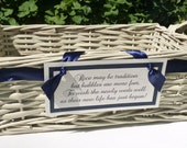 Medium program basket with your choice of ribbon color, basket color and custom sign