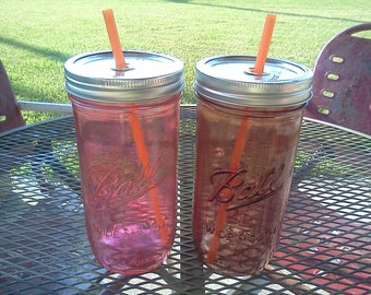 Ball Mason Jar Sippy Tumbler - - CHOOSE YOUR COLOR - Coral or French Roast Brown - 24 oz Tumbler