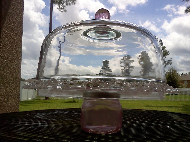Cake Jar Designs : CAKE PLATE Ball Mason Jar Designs Pink Flowered Plate