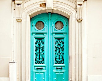 Blue Door in Paris France - Art Photography Print Travel French - Turquoise