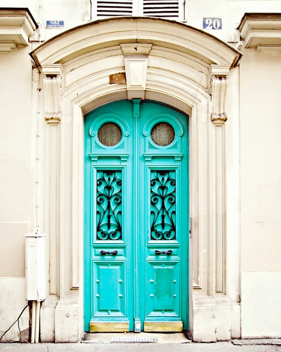 Blue Door in Paris, France - Art Photography Print, Travel, French - Turquoise, Color Pop, Neon, Fluo, Bright, Architecture, Parisian