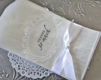 """25 Glassine Bags """"Thank You"""" Embossed"""
