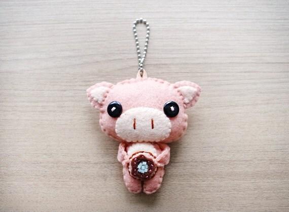 Felt Keychain -  stocking stuffer -  cute accessories -  Kawaii - Piggy plush - READY TO SHIP