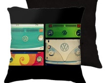 VW Collage - Throw Pillow, minibus, camper, van, Art Photography Pillow Case Cover