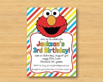 Elmo Printable Birthday Party Invitation - Rainbow - 5 x 7 - Sesame Street, Muppets