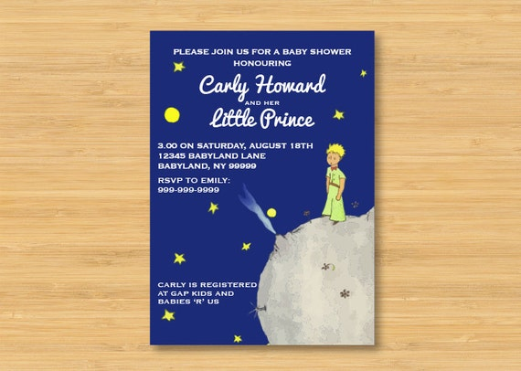 the little prince baby shower invitation 5 x 7 le petit prince