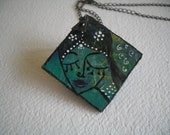 Handpainted Pendant - Green and Black Face on MDF with Dull Gold Polish Chain