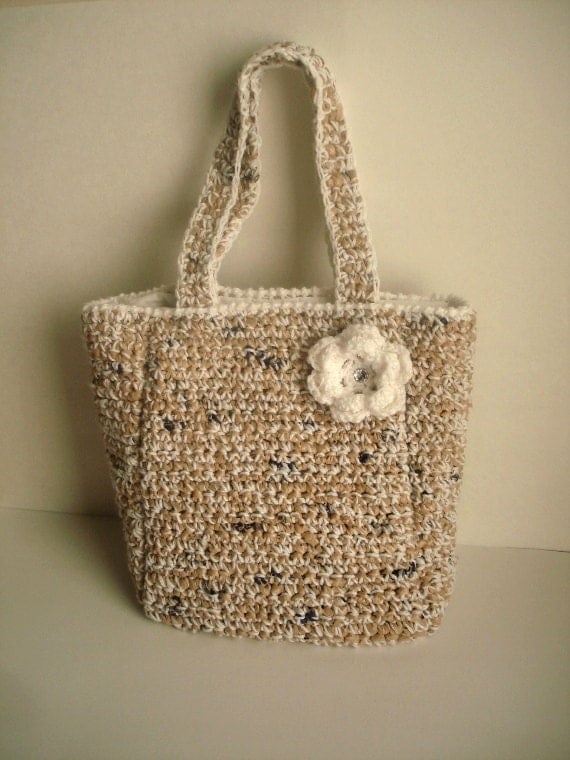 CLEARANCE / Brown Bag Crocheted with recycled bags and yarn