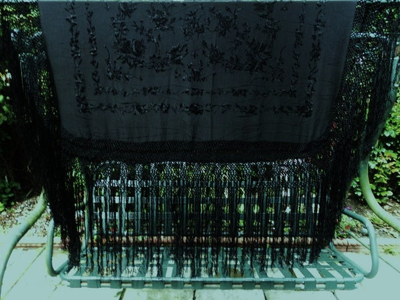 HEIRLOOM vintage black embroidered silk PIANO SHAWL -  85inches square - 20inch deep fringing 1930s