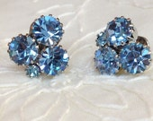 1950s Ice Blue Earrings by Weiss - FREE SHIPPING -