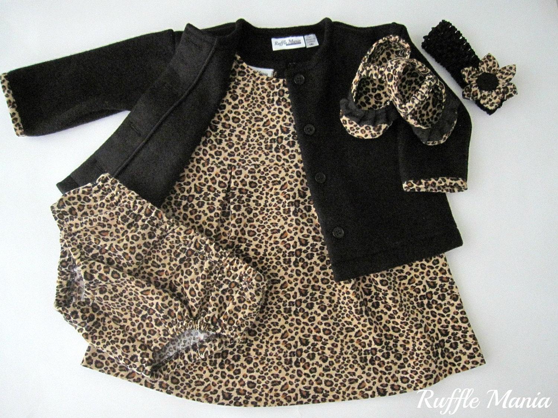 Baby girl dress in cheetah print corduroy w black fleece