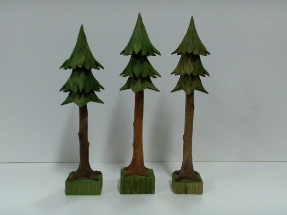 Hand Carved Pine Tree Accessory
