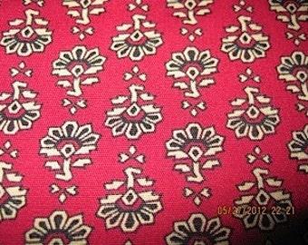 Vintage art deco style red, tan, black print cotton