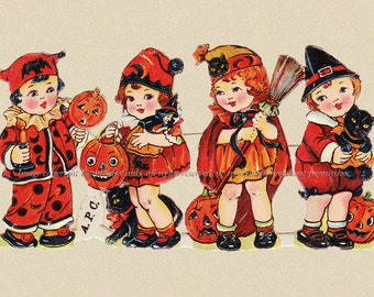 Halloween Witches Fabric Block - Witch Children from Vintage Scrap