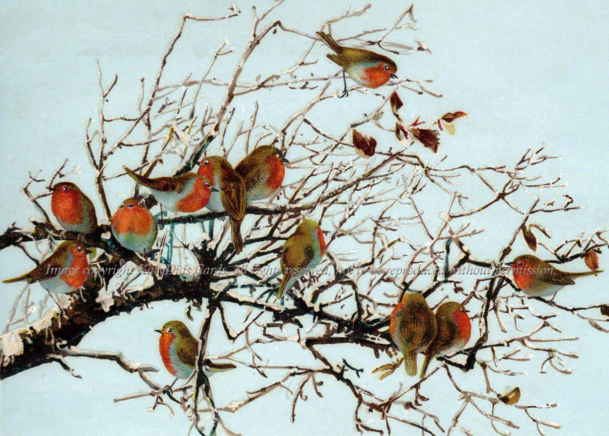 Robins Fabric Flock Of Birds In A Tree Cotton Fabric Block