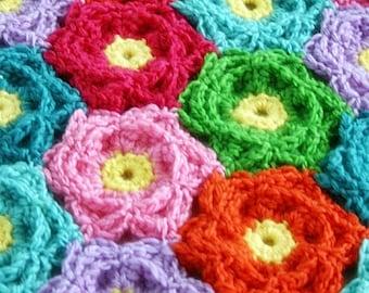 Modern Crochet Flower Pattern : Popular items for baby flower blanket on Etsy