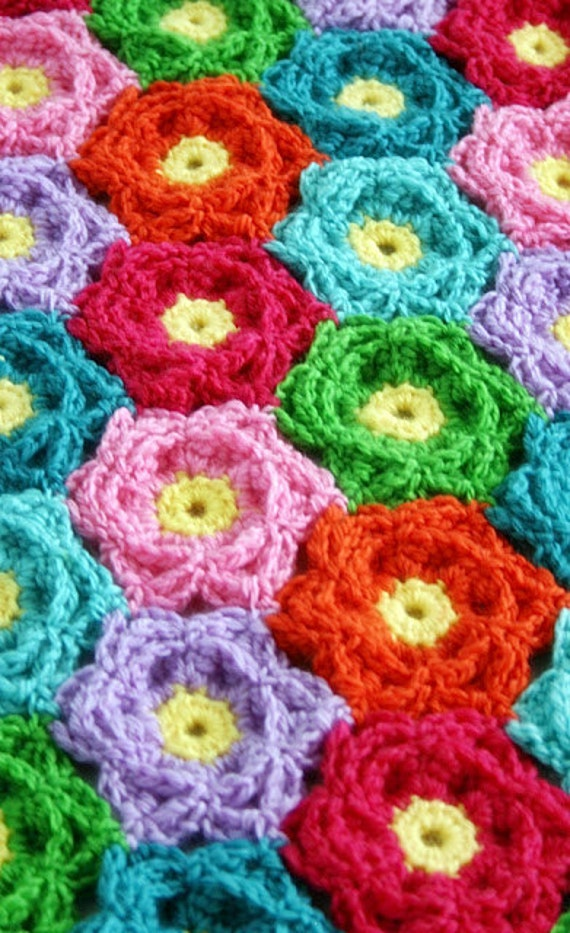Crochet Flower Pattern Blanket : Blanket Crochet Pattern Waikiki Wildflower Colorful