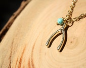 Wishbone Necklace, Gold Colored Wishbone and Turquoise Bead Charm Necklace, Lucky Charm Necklace, Lucky Necklace