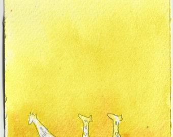 Mini Painting - Giraffes with watercolor and pencil, original painting 3x3